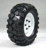 【翌日お届け便】OPTION No.1(オプションNo.1)/1.9クローラータイヤセット90mm(鉄チンホイール付/ホワイト/2コ)