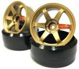 【ネコポス対応】LAB/LWH-0306G_LWH-0308G/TE37 Sports WHEEL ハイトラクションtype ゴールドメタル 2本入